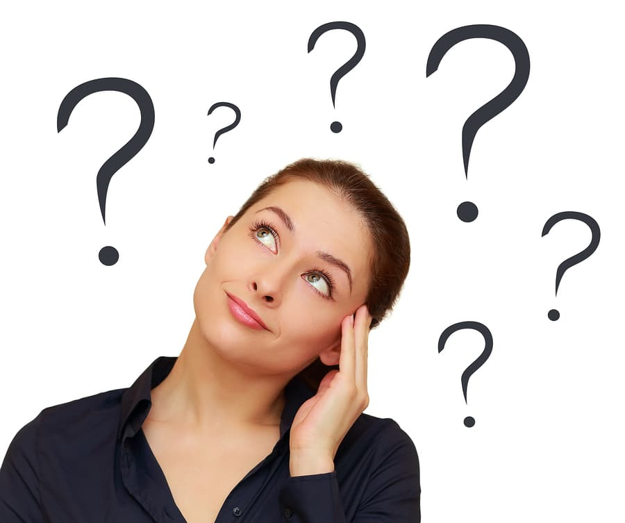 hinking Woman With Question Marks Above The Head Isolated